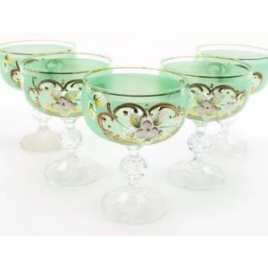 Other - Crystal Painted Set Of 5 Green Champagne Glasses